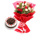 Ferns N Petals Mothers Day Colourful Roses n Cake (EXDFNP2034)
