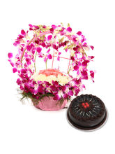 Ferns N Petals Purple Orchid N Cake Passion (MN-EX...