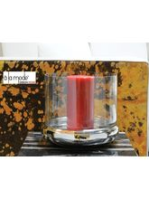 Alamode Design Home Shallow Belly Candle Holder W/ Clear Glass, silver