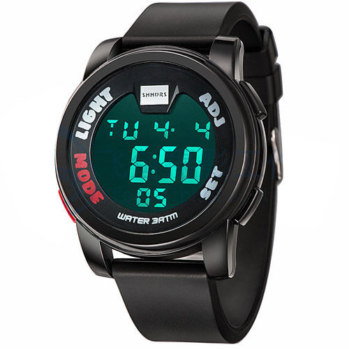 SHHORS Black Dial Black Strap Digital Watch