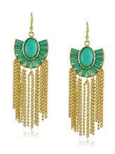 The Blue Stone Tassel Earrings, Free, Blue