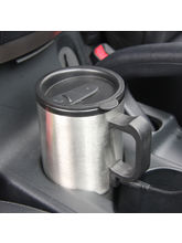 Qubeplex Dual Charger Double Wall Stainless Car Travelling Mug (H32), grey