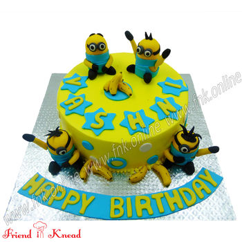 Minion Theme Cake, eggless, select time, 1.5 kg