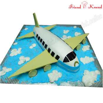 FNK Aircraft - Airplane Theme Cake, eggless, select time, 4 kg