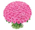 India Gifts Hub Pink Roses Bouquet 100 Flowers (IGHFLOW033)