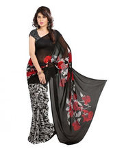 Styloce Georgette Printed Casual Saree (STY-8808), black