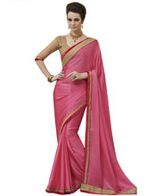 Styloce Chiffon Embroidered Multi Work and Stone Work Festive Saree (STY-62110), pink