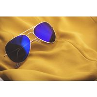 Silver Frame Blue Mirror Lens Aviator Sunglasses