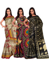 Shonaya Pack Of 3 Silk Printed Saree KMTPT-18-19-22, multicolor