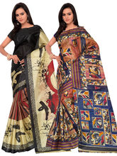 Shonaya Pack Of 2 Silk Printed Attractive Saree, multicolor
