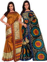 Shonaya Pack Of 2 Silk Print Saree, multicolor