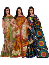 Shonaya Pack Of 3 Silk Printed Saree KMTPT-26-20-21, multicolor