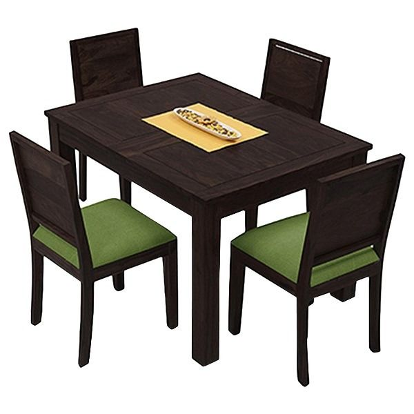 Woodkartindia Copenhagen 4 Seater Solid Wood Dining Set For Home Living Furniture (WKI-DS 10), brown