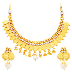 Sukkhi Angelic Laxmi Temple Coin Gold Plated Necklace Set For Women
