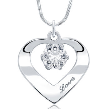 Sukkhi Solitaire Rhodium Plated Austrian Crystal Valentine Heart Pendant With Chain