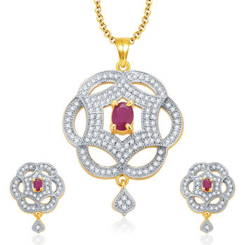 Pissara Dazzling Gold And Rhodium Plated Ruby CZ Pendant Set For Women