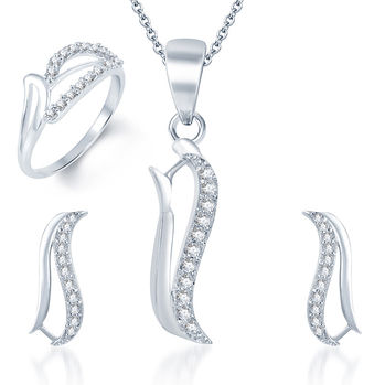 Pissara Alluring Rhodium Plated CZ Pandent Set and Ring Combo, 10