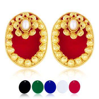 Sukkhi Classic 5 Set Of Changeable Plates Gold Plated Earring For Women