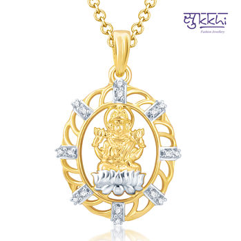 Pissara Glorious Gold and Rhodium Plated Cubic Zirconia Stone Studded God Pendant