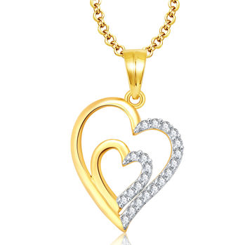 Pissara Sizzling Gold And Rhodium Plated CZ Pendant For Women