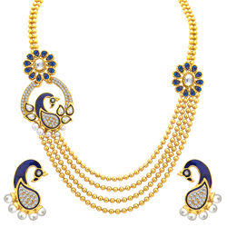 Sukkhi Pleasing Four String Peacock Gold Plated Necklace Set For Women