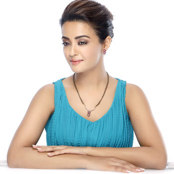 Sukkhi Surveen Chawla Collections Magnificent Gold and Rhodium Plated CZ Marquise Ruby Mangalsutra Set