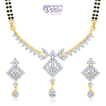 Pissara Pleasing Gold and Rhodium Plated Cubic Zirconia Stone Studded Mangalsutra Set