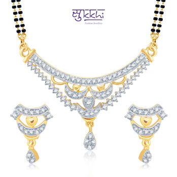 Pissara Beguiling Gold and Rhodium Plated Cubic Zirconia Stone Studded Mangalsutra Set