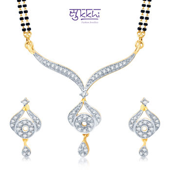 Pissara Graceful Gold and Rhodium Plated Cubic Zirconia Stone Studded Mangalsutra Set
