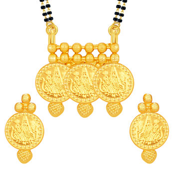 Sukkhi Luxurious Laxmi Temple Coin Gold Plated Mangalsutra Set For Women