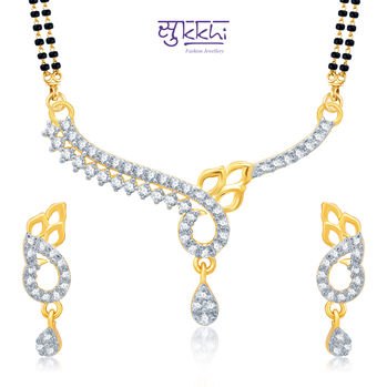 Pissara Appealing Gold and Rhodium Plated Cubic Zirconia Stone Studded Mangalsutra Set
