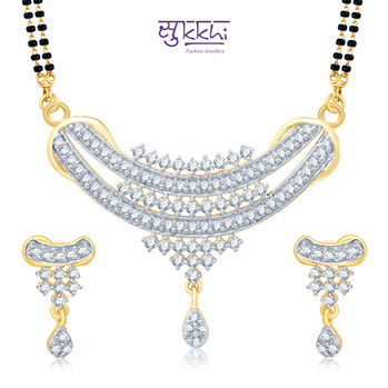 Pissara Angelic Gold and Rhodium Plated Cubic Zirconia Stone Studded Mangalsutra Set
