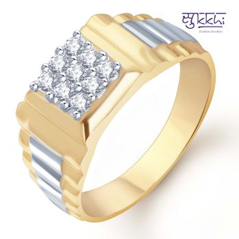 Pissara Gold and Rhodium Plated CZ Ring for Men(108GRK540), 21