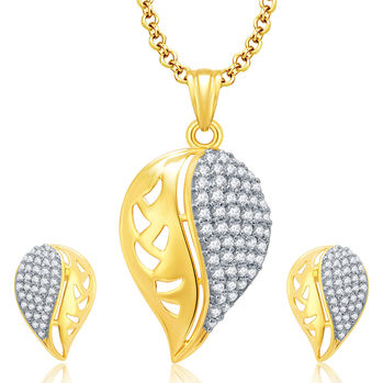 Pissara Fashionable Gold And Rhodium Plated CZ Pendant Set For Women