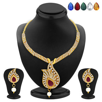 Sukkhi Luxurious Necklace Set Detachable to Pendant Set with Chain and Set of 5 Changeable Stone For Women