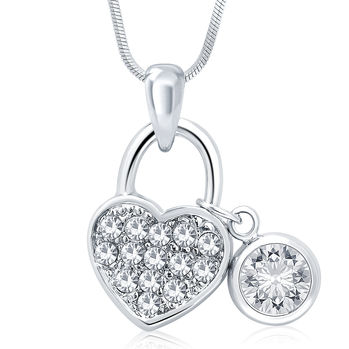 Sukkhi Glimmery Rhodium Plated Austrian Crystal Valentine Heart Pendant With Chain