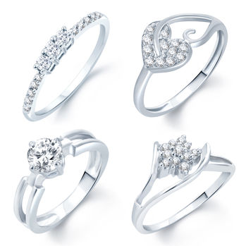 Pissara Incredible Rhodium Plated Set Of 4 CZ Ring Combo For Women, 11