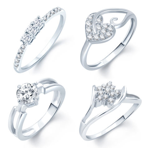Pissara Incredible Rhodium Plated Set Of 4 CZ Ring Combo For Women