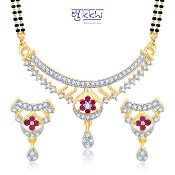 Pissara Resplendent Gold and Rhodium Plated Cubic Zirconia Stone Studded Mangalsutra Set