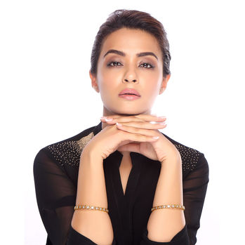 Sukkhi Surveen Chawla Collections Gleaming Gold and Rhodium Plated CZ Bangles, 2.6