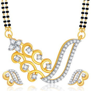 Pissara Marvellous Gold Plated CZ Mangalsutra Set For Women