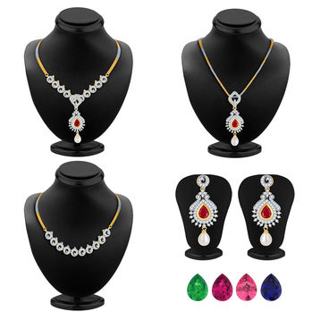 Pissara Delightly Detachable 4 in 1 CZ Jewellery Set with Chain and 5 Changeable Stone