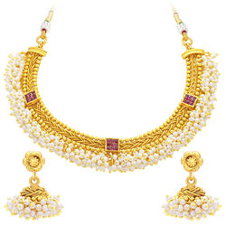 Sukkhi Luxurious Invisible Setting Gold Plated American Diamond Necklace Set For Women