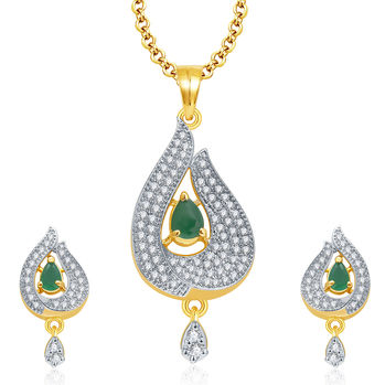 Pissara Dainty Gold And Rhodium Plated Emerald CZ Pendant Set For Women