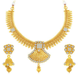 Sukkhi Sparkling Jalebi & Invisible Setting Gold Plated American Diamond Necklace Set For Women