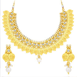 Sukkhi Graceful Laxmi Coin Temple Gold Plated American Diamond Necklace Set For Women