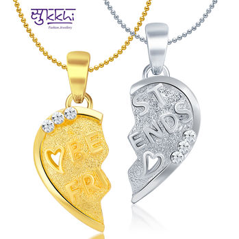 Sukkhi BEST FRIENDS Gold and Rhodium Plated Lovely 2 in 1 Valentine Broken Heart Pendant with Chain
