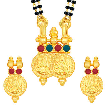 Sukkhi Resplendent Laxmi Temple Coin Gold Plated Mangalsutra Set For Women