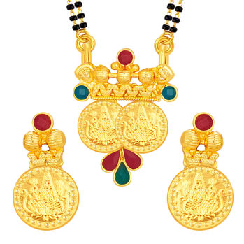 Sukkhi Appealing Laxmi Temple Coin Gold Plated Mangalsutra Set For Women