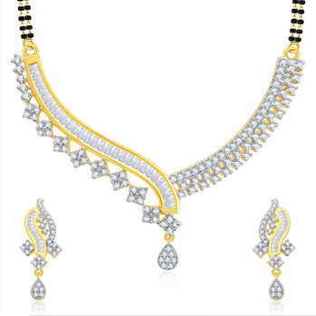 Pissara Beguiling Gold And Rhodium Plated CZ Mangalasutra Set For Women